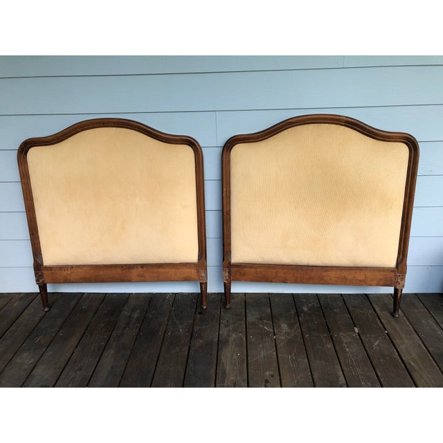 French 1950s French Twin Headboards Upholstered in Corded Gold Velvet - a Pair For Sale - Image 3 of 10