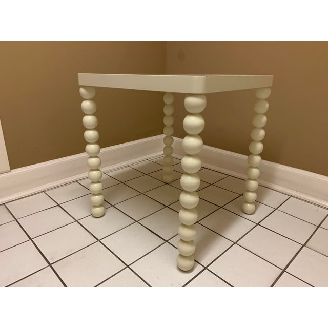 1970's Boho Chic Off-White Wood Side Table For Sale - Image 11 of 11
