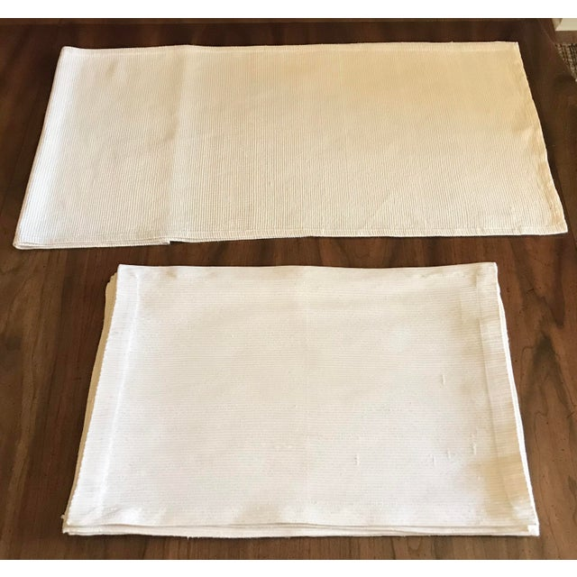 Antique Williams Sonoma Off-White Silk Dupioni Eight Placemats & Table Runner - 9 Pc. Set For Sale - Image 11 of 11