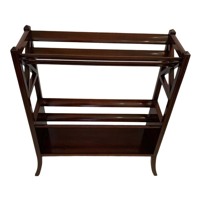 19th Century Mahogany & Satinwood Book Trough Shelving Unit For Sale