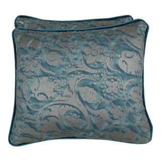 Persepolis Patterned Fortuny Textile Pillows, a Pair For Sale