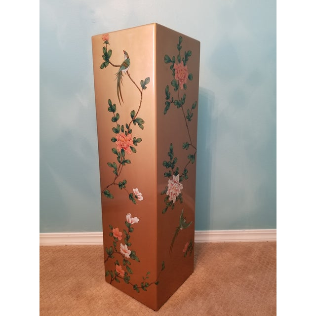 Vintage Chinoisserie Display Pedestal for Art or Plants. Features lovely birds and flowers throughout.