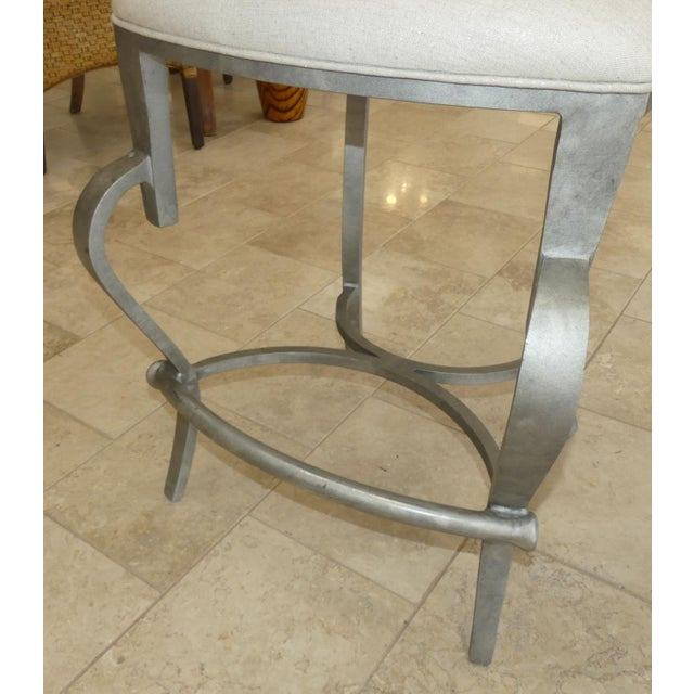 Fabric 1990s Modern Biedermeier Style Metal Counter Stools - Set of 3 For Sale - Image 7 of 13