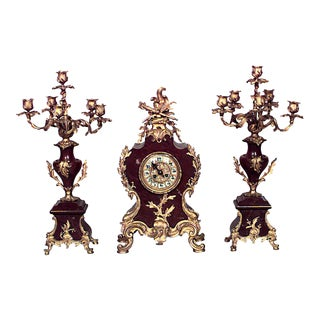 French Louis XV Style Bronze Clock Set For Sale