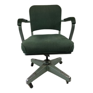 Vintage Industrial Green Swivel Office Chair For Sale