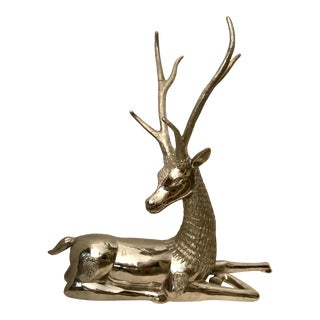 Nickel-Plated & Sculpted Brass Reclining Deer For Sale