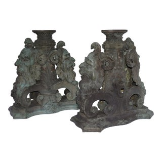 Continental Rococo Figural Bronze Stanchions - a Pair For Sale