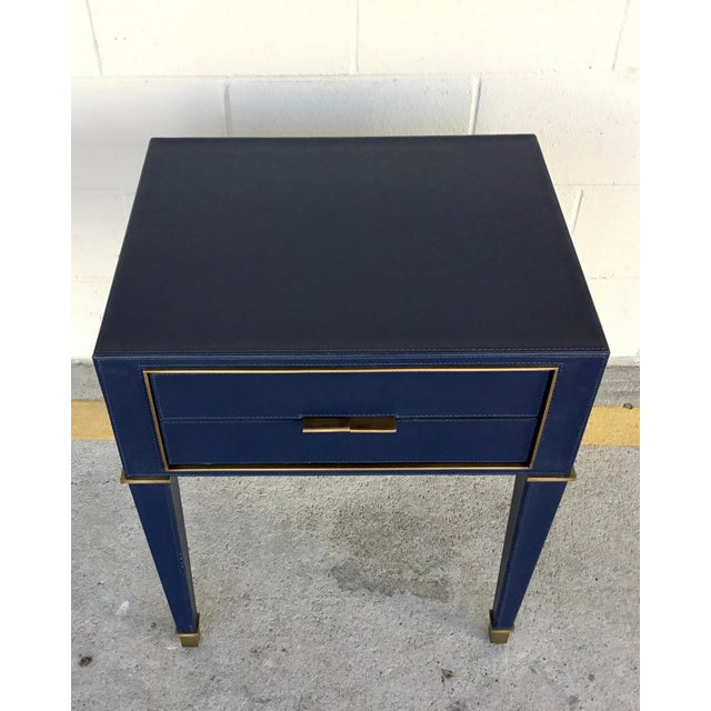Contemporary Bungalow 5 Modern Navy Blue Leather and Antique Brass Finish Hunter Two Drawer Side Table For Sale - Image 3 of 6