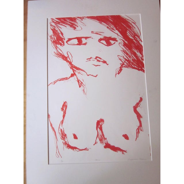 """Contemporary 1970s Vintage Suzanne Peters """"Face"""" Limited Edition Signed Nude Woman Figural Lithograph For Sale - Image 3 of 11"""