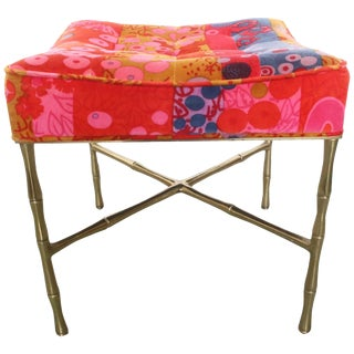 Jack Lenor X-Base Ottoman Gold Bamboo For Sale