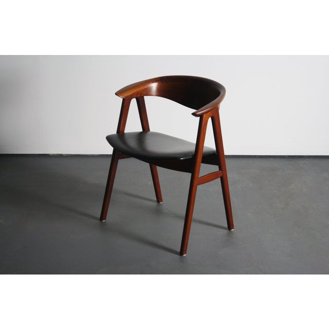 Danish Modern Erik Kirkegaard Teak Compass Sculpted Desk Chair For Sale - Image 3 of 8