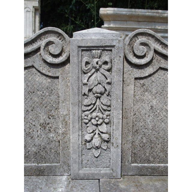 Carved Limestone Garden Bench from Northern Italy - Image 5 of 11