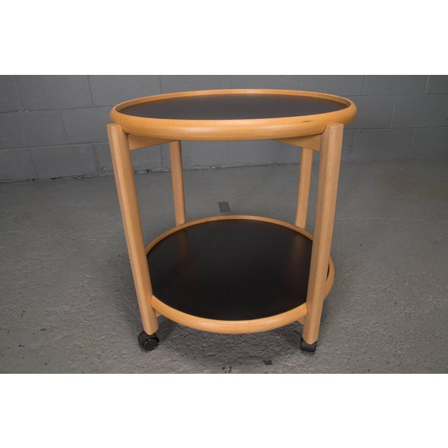 1970s Two-Tier Reversible Top Beech and Laminate Side Table on Casters For Sale - Image 5 of 6