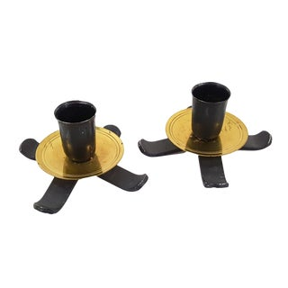 Pair Mid-Century Iron and Brass Candle Holders For Sale