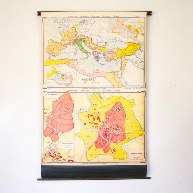 Industrial Pull Down Map of Rome Italy and the Roman Empire For Sale - Image 9 of 9
