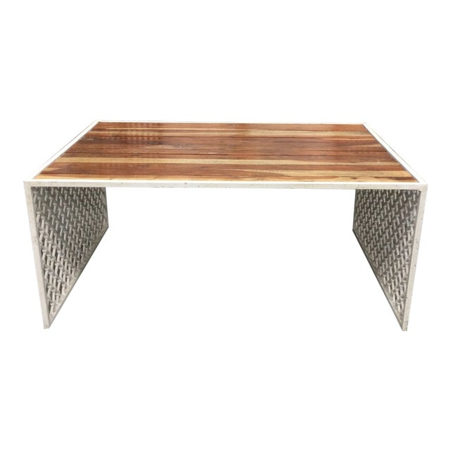 Outdoor Jali Wood Coffee Table With Powder Coated Moroccan Design Base For Sale