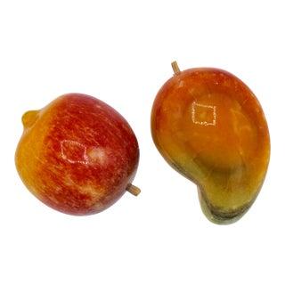 Mid-Century Italian Alabaster Peach and Mango Fruit For Sale