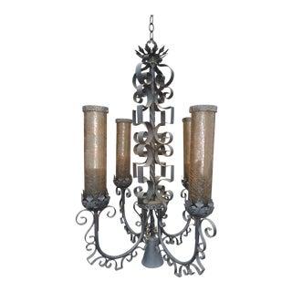 """Vintage 38"""" Tall Spanish Revival Four Light Chandelier Renaissance Style Unique For Sale"""