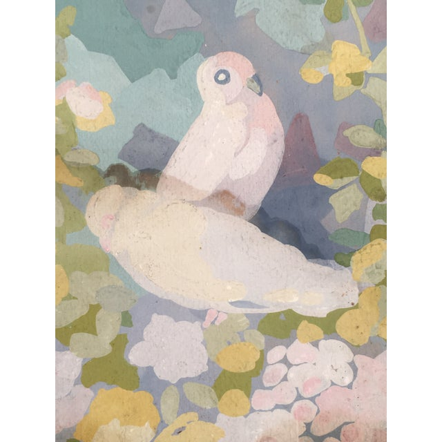 1920s Art Deco Gouache Painting of Doves in a Floral Landscape For Sale - Image 5 of 6