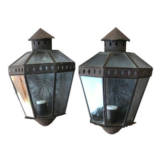 Mexican Hacienda Style Dark Colored Patinated Wall Lanterns - a Pair For Sale