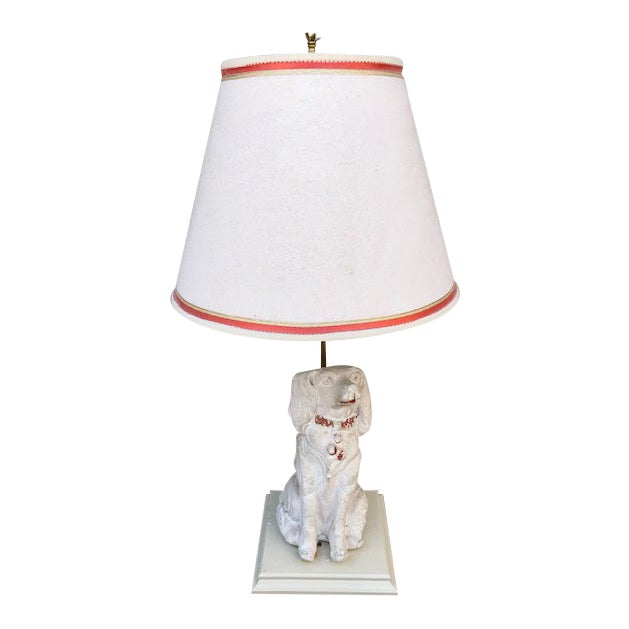 Late 19th Century Cavalier King Charles Spaniel Lamp With Original Shade For Sale