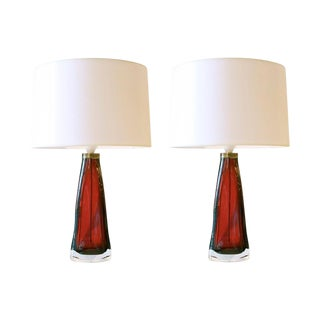 Pair of 1950s Swedish Orrefors Ruby Red Glass Lamps For Sale