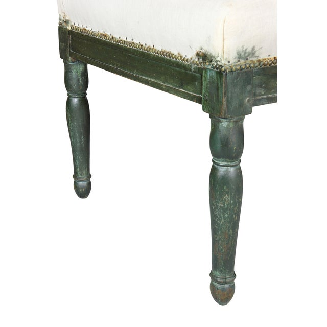 French Restauration Green Painted Bench For Sale - Image 4 of 8
