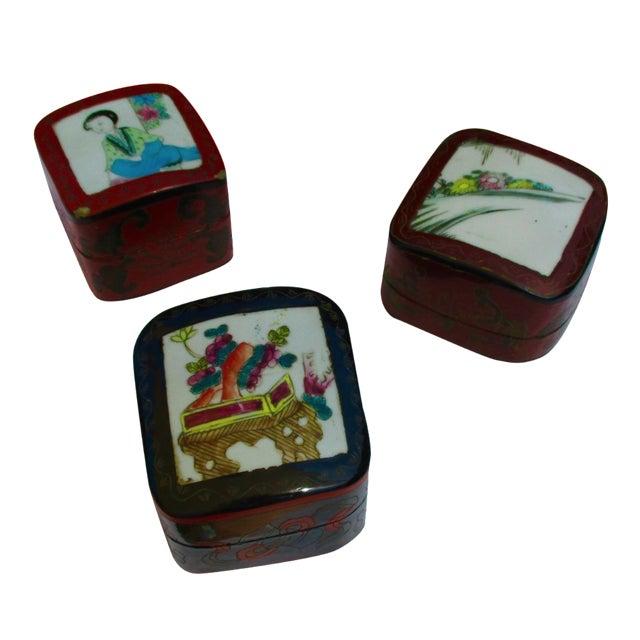 Porcelain Lacquer Glam Trinket Boxes - Set of 3 - Image 1 of 11