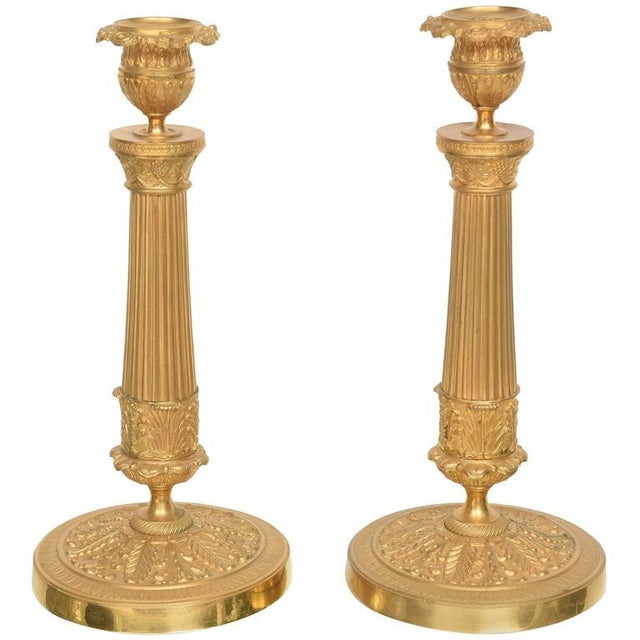 19th Century Louis XVI Style Neoclassical Gilt Brass Candle Sticks - a Pair For Sale - Image 10 of 10