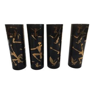 """Vintage Black Glasses With Gold Design of """"Black Americana Exotic Dancers"""""""