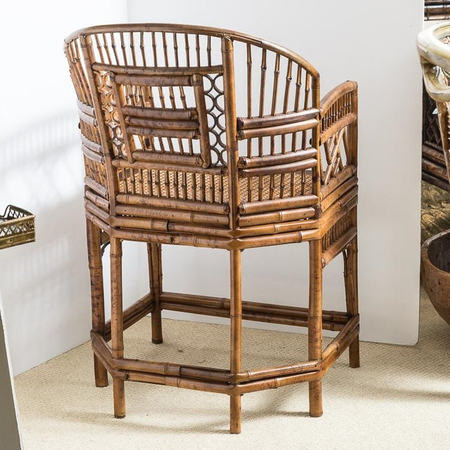 1960s Brighton Bamboo Barrel Chairs by Thomasville Old Label, , A-Pair For Sale - Image 5 of 12