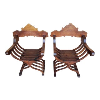1970s French Medieval Style Savonarola Oak X-Chairs - a Pair For Sale