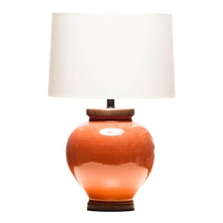 Lawrence & Scott Luca Porcelain Table Lamp in Living Coral For Sale