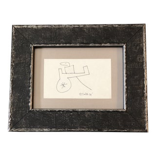 Original Vintage 1960's Robert Cookie Miniature Abstract Ink Drawing Framed For Sale