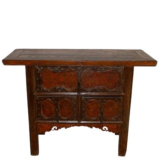 19th Century Chinese Cabinet With Three Decorated Drawer Fronts For Sale