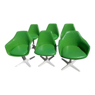 Mid-Century Modern Burke Inc. Propeller Swivel Chairs - Set of 6 For Sale