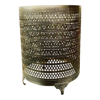 Hollywood Regency Metal Wastebasket For Sale