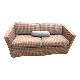 Red Houndstooth Wool Modern Track Loveseat
