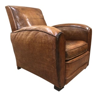 1940s French Art Deco Leather Lounge Chair For Sale