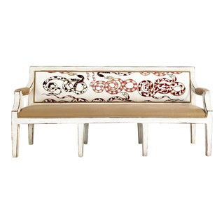 Swedish Neoclassical Style Bench in Pierre Frey and Loro Piana Linens For Sale