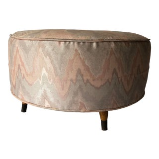 "Midcentury Round Footstool/ Ottoman 23""d X 12.25""h For Sale"