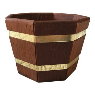 Wooden & Brass Planter For Sale