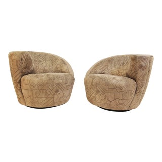 1980s Mid Century Modern Vladimir Kagan Directional Swivel Corkscrew Chairs - a Pair