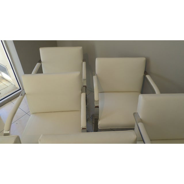 Contemporary Brueton Stainless Steel and Leather Brno Chairs - Set of 6 For Sale - Image 3 of 10