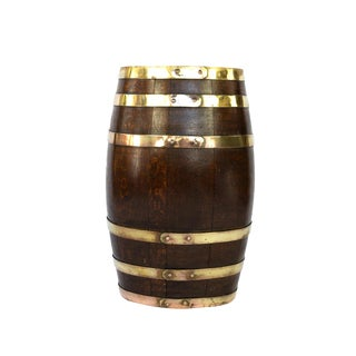 English Brass Bound Oak Barrel, Circa 1890 For Sale