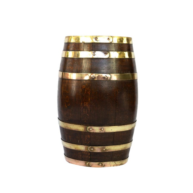 English Brass Bound Oak Barrel, Circa 1890 For Sale
