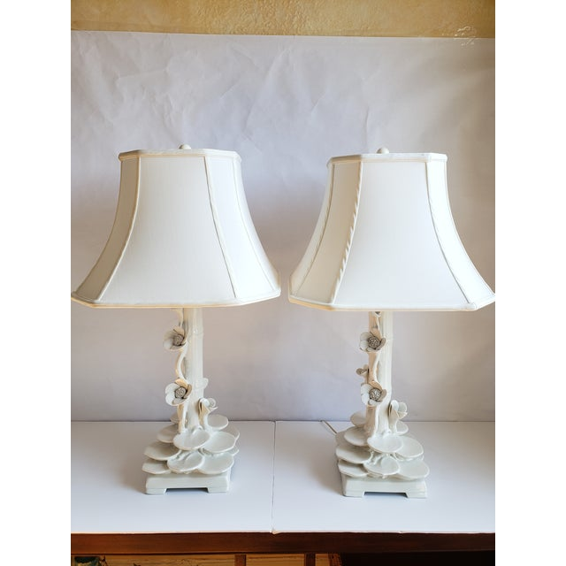 Mid Century Italian Ceramic Faux Bamboo & Lotus Flower Table Lamps-A Pair For Sale - Image 13 of 13