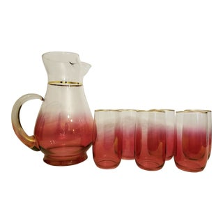 Vintage Blendo Mid-Century Modern West Virginia Glass Pitcher and Glass Set - 7 Pieces For Sale
