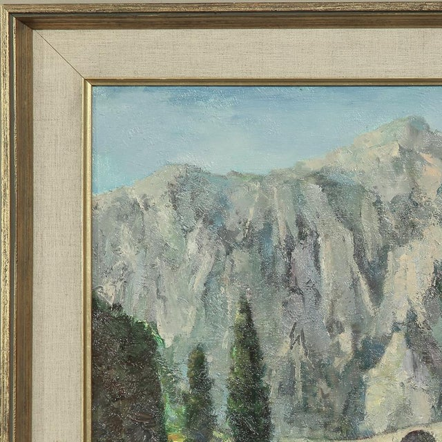 Canvas Mid- Century Original Painting on Canvas by Tilleux of Italian Alps For Sale - Image 7 of 12