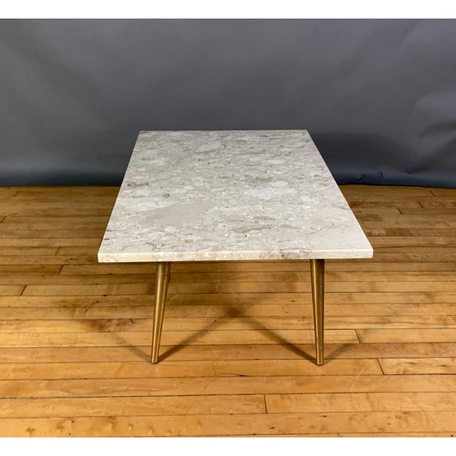 Italian Mid-Century Travertine and Brass Coffee Table, Usa For Sale - Image 3 of 10